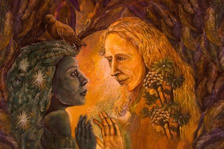druid: woodland dryade fairy and golden man of learning, fairytale illustration.