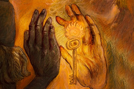 two hands from two different worlds comming together in love promise, painting. Stock Photo