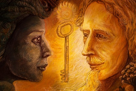 druid: couple in love, two faces from different worlds connected with love.