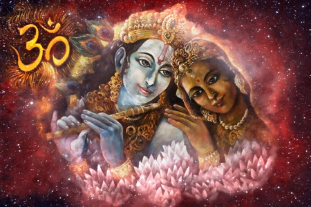Krishna and Radha, beautiful hindu divine couple with om sign. Stock Photo