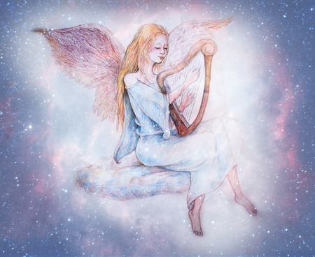 beautiful gentle angel playing harp sitting on cloud, surrounded with starry heavens.