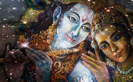 Krishna and Radha, beautiful hindu divine couple, painting collage. Stock Photo