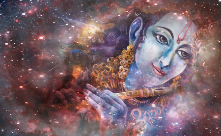 flute structure: Lord Krishna playing his flute in space, colorful painting collage.