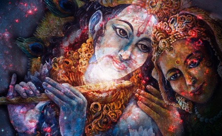flute structure: Krishna and Radha, beautiful hindu divine couple, painting collage. Stock Photo