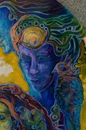 third eye: blue dreamy prophet whispering his words, fantasy illustration.