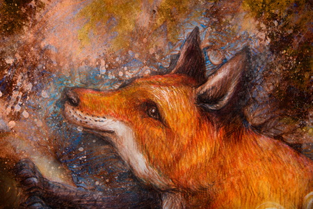 red fox portrait, colorful painting with ornamental background.