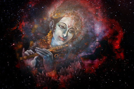 radha: Lord Krishna playing his flute in space, colorful painting collage.