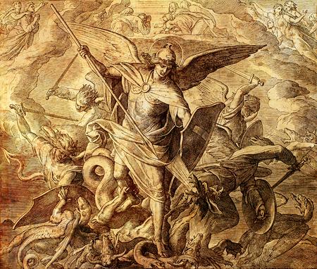 Arcángel Miguel luchando con dragón, grabado de la Escuela Nazareene, publicado en La Santa Biblia, St.Vojtech Publishing, Trnava, Eslovaquia, 1937.