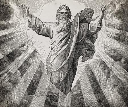 God schepper die de wereld schiep, grafische collage van gravure van de Nazareen School, gepubliceerd in de Heilige Bijbel, St.Vojtech Publishing, Trnava, Slowakije, 1937.