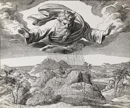 Dieu créateur créant l'eau et de la terre, collage graphique de gravure de Nazareene School, publiée dans la Sainte Bible, St.Vojtech Publishing, Trnava, Slovaquie, 1937. Banque d'images