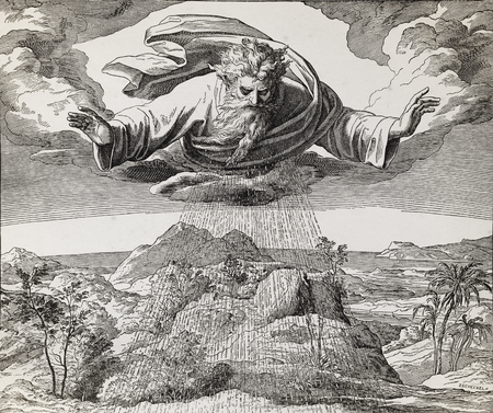 God creator creating the water and earth, graphic collage from engraving of Nazareene School, published in The Holy Bible, St.Vojtech Publishing, Trnava, Slovakia, 1937. Standard-Bild