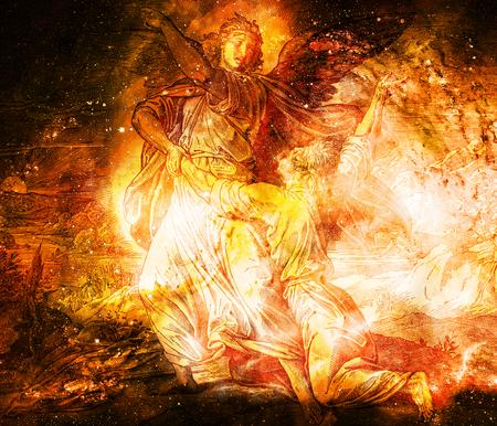 Jacob lutte avec l'ange de dieu, collage graphique de la gravure de l'école Nazareene, publié dans The Holy Bible, St.Vojtech Publishing, Trnava, Slovaquie, 1937. Banque d'images - 75780407