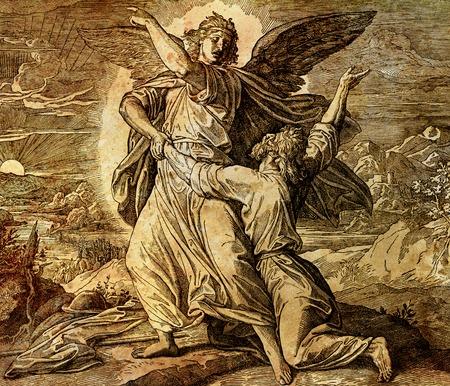 Jacob lutte avec l'ange de dieu, collage graphique de la gravure de l'école Nazareene, publié dans The Holy Bible, St.Vojtech Publishing, Trnava, Slovaquie, 1937. Banque d'images