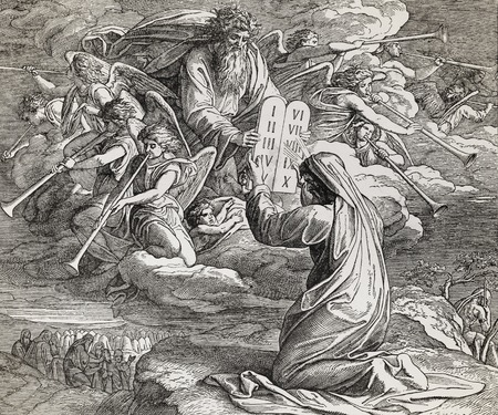 Moses receiving the ten commandments from God, graphic collage from engraving of Nazareene School, published in The Holy Bible, St.Vojtech Publishing, Trnava, Slovakia, 1937.