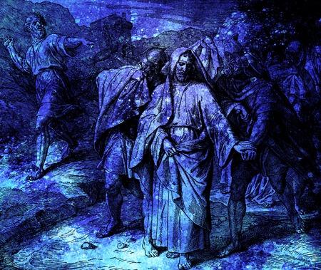 irrespeto: Hombre lanzando piedras sobre el rey David y sus compañeros, collage gráfico del grabado de la Escuela Nazareene, publicado en La Santa Biblia, St.Vojtech Publishing, Trnava, Eslovaquia, 1937.