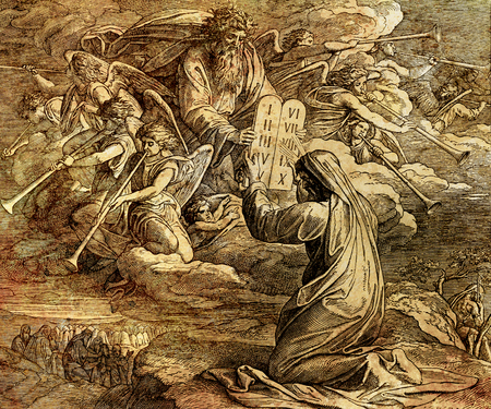Moisés recibiendo los diez mandamientos de Dios, collage gráfico del grabado de la Escuela Nazareene, publicado en La Santa Biblia, St.Vojtech Publishing, Trnava, Eslovaquia, 1937.