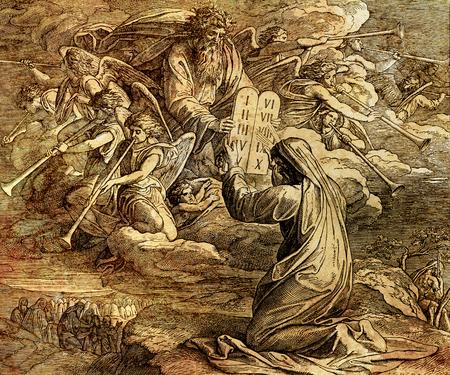 Moses, der die zehn Gebote von Gott empfängt, grafische Collage aus der Gravur der Nazareene-Schule, veröffentlicht in der Bibel, St.Vojtech Publishing, Trnava, Slowakei, 1937.