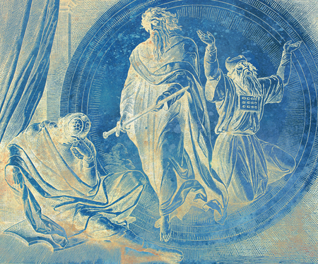 Revelation of jeremiah, graphic collage from engraving of Nazareene School, published in The Holy Bible, St.Vojtech Publishing, Trnava, Slovakia, 1937.