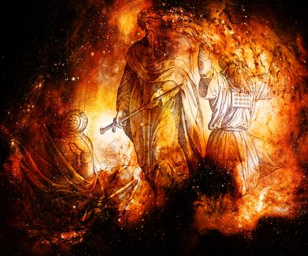 Revelación de Jeremías, collage gráfico del grabado de la Escuela Nazareene, publicado en La Santa Biblia, Publicaciones St. Vojtech, Trnava, Eslovaquia, 1937. Foto de archivo - 86249731