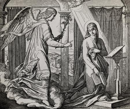 De proclamatie van Jezus 'geboorte, aartsengel Gabriël spreekt tot Maria, grafische collage van gravure van Nazareene School, gepubliceerd in de Heilige Bijbel, St.Vojtech Publishing, Trnava, Slowakije, 1937.