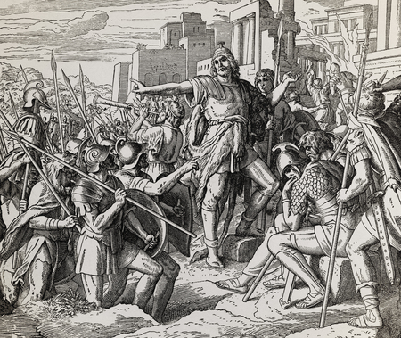 Judas Maccabeus, grafische collage van gravure van Nazareene School, gepubliceerd in The Holy Bible, St.Vojtech Publishing, Trnava, Slovakije, 1937. Stockfoto