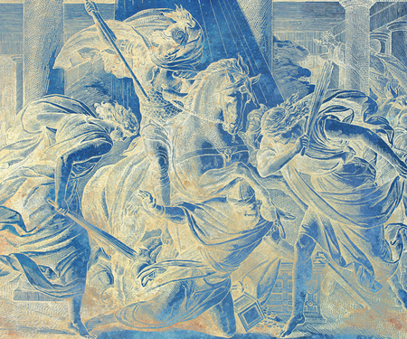 heliodor fighting on a horse, graphic collage from engraving of Nazareene School, published in The Holy Bible, St.Vojtech Publishing, Trnava, Slovakia, 1937.