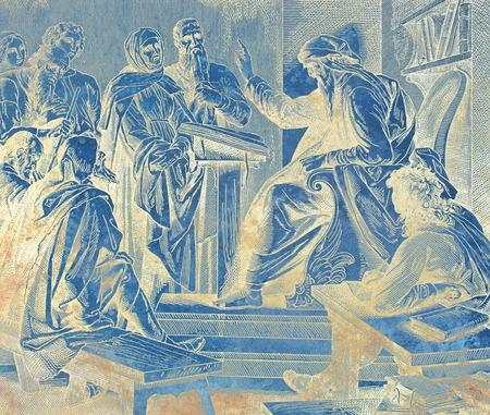 profeet prediking aan de mensen in de tempel, grafische collage van gravure van Nazareene School, gepubliceerd in de Heilige Bijbel, St.Vojtech Publishing, Trnava, Slowakije, 1937. Stockfoto