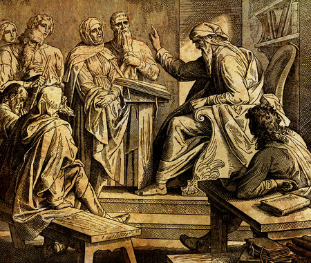 prophet preaching to the people in temple, graphic collage from engraving of Nazareene School, published in The Holy Bible, St.Vojtech Publishing, Trnava, Slovakia, 1937. Stockfoto