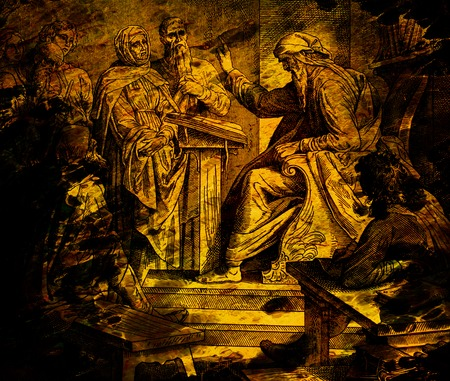 prophet preaching to the people in temple, graphic collage from engraving of Nazareene School, published in The Holy Bible, St.Vojtech Publishing, Trnava, Slovakia, 1937. Standard-Bild