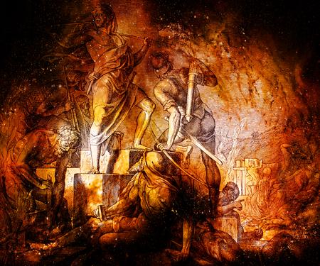 Herstel van beschermende muren van de stad, grafische collage van gravure van Nazareene School, gepubliceerd in The Holy Bible, St.Vojtech Publishing, Trnava, Slovakije, 1937.