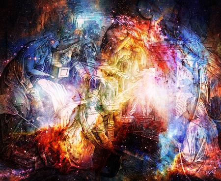 Re Salomone adorando idoli, collage grafico da incisione della Scuola Nazareena, pubblicato in La Sacra Bibbia, St.Vojtech Publishing, Trnava, Slovacchia, 1937. Archivio Fotografico - 86867049