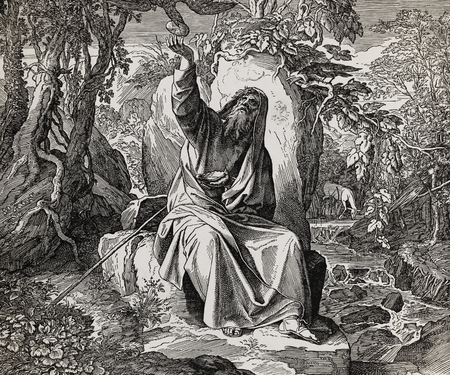 The prophet Elijah nurtured by ravens, graphic collage from engraving of Nazareene School, published in The Holy Bible, St.Vojtech Publishing, Trnava, Slovakia, 1937.