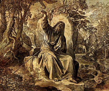 De profeet Elia, gevoed door raven, grafische collage van de gravure van Nazareene School, gepubliceerd in de Heilige Bijbel, St.Vojtech Publishing, Trnava, Slowakije, 1937. Stockfoto