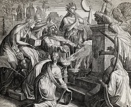 King Solomon worshipping idols, graphic collage from engraving of Nazareene School, published in The Holy Bible, St.Vojtech Publishing, Trnava, Slovakia, 1937. Standard-Bild