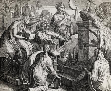 Koning Salomo aanbidt afgoden, grafische collage van gravure van Nazareen School, gepubliceerd in De Heilige Bijbel, St.Vojtech Publishing, Trnava, Slowakije, 1937.
