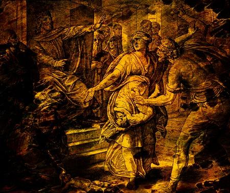 Het oordeel van koning Salomo, grafische collage van gravure van Nazareene School, gepubliceerd in De Heilige Bijbel, St.Vojtech Publishing, Trnava, Slowakije, 1937. Stockfoto