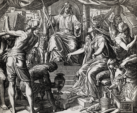 Queen of Sheba and king Solomon, graphic collage from engraving of Nazareene School, published in The Holy Bible, St.Vojtech Publishing, Trnava, Slovakia, 1937.
