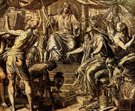 Koningin van Sheba en koning Salomo, grafische collage van gravure van Nazareene School, gepubliceerd in The Holy Bible, St.Vojtech Publishing, Trnava, Slovakije, 1937.