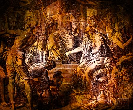시바 여왕과 솔로몬 왕, 1937 년 슬로바키아 Trnava, St.Vojtech Publishing, The Holy Bible에 실린 Nazareene School의 조각에서 만든 그래픽 콜라주.