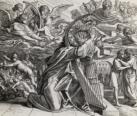De psalmen van koning David, grafische collage van gravure van Nazareene School, gepubliceerd in The Holy Bible, St.Vojtech Publishing, Trnava, Slovakije, 1937. Stockfoto