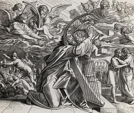 I salmi del re David, collage grafico da incisione della Scuola di Nazareene, pubblicato su The Holy Bible, St.Vojtech Publishing, Trnava, Slovacchia, 1937. Archivio Fotografico - 86686803