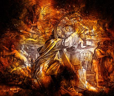 Los salmos del rey David, collage gráfico del grabado de la escuela Nazareene, publicado en la biblia santa, publicación de St.Vojtech, Trnava, Eslovaquia, 1937. Foto de archivo