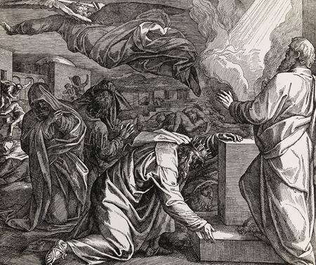 Koning David en het tellen van de mensen, grafische collage van gravure van Nazareene School, gepubliceerd in de Heilige Bijbel, St.Vojtech Publishing, Trnava, Slowakije, 1937.