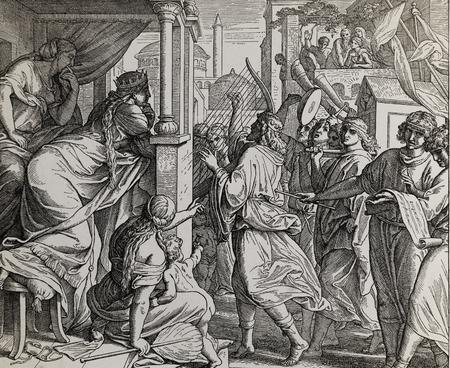 Koning David speelt op zijn harp, gepubliceerd in The Holy Bible, St.Vojtech Publishing, Trnava, Slovakije, 1937. Stockfoto