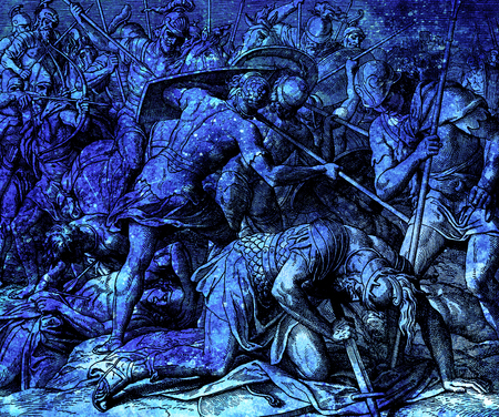 night vision: The battle with dying Saul, graphic collage from engraving of Nazareene School, published in The Holy Bible, St.Vojtech Publishing, Trnava, Slovakia, 1937.