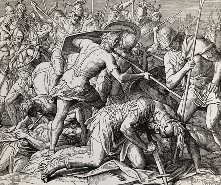 The battle with dying Saul, graphic collage from engraving of Nazareene School, published in The Holy Bible, St.Vojtech Publishing, Trnava, Slovakia, 1937.