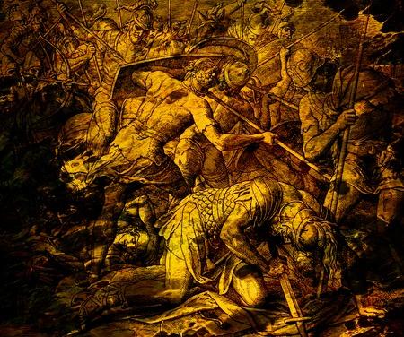 Het gevecht met stervende Saul, grafische collage van gravure van Nazareene School, gepubliceerd in The Holy Bible, St.Vojtech Publishing, Trnava, Slovakije, 1937.