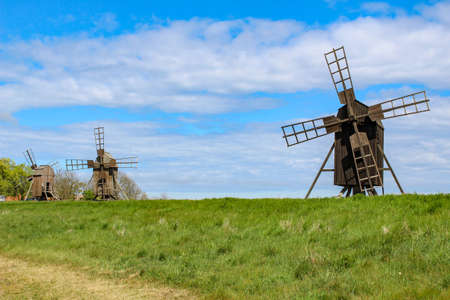 Old wooden windmill on Oland, Sweden