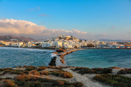 Naxos city on the harbor of Naxos on a stormy evening, Greece