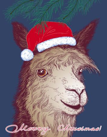 Kerst vector illustratie met een vrolijke alpaca in de hoed van de Kerstman